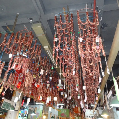 meats curing in a wet market