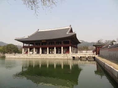 Gyeonghoeru, a 48-pillar pavilion overlooking a lake, was used for state banquets.
